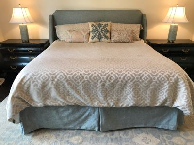 King Size Bed With Custom Upholstered Headboard, Throw Pillows And Bedding Including Bed Skirt Includes Bloomingdale's Shifman Supreme Plush Pillow Top Mattress And Boxspring (Guest Bedroom) Purchased For $3,450