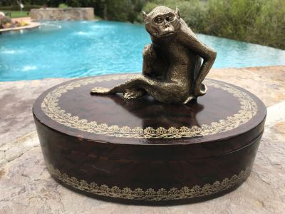 Oval Box With Metal Monkey Handle On Lid 12W X 8D X 8H