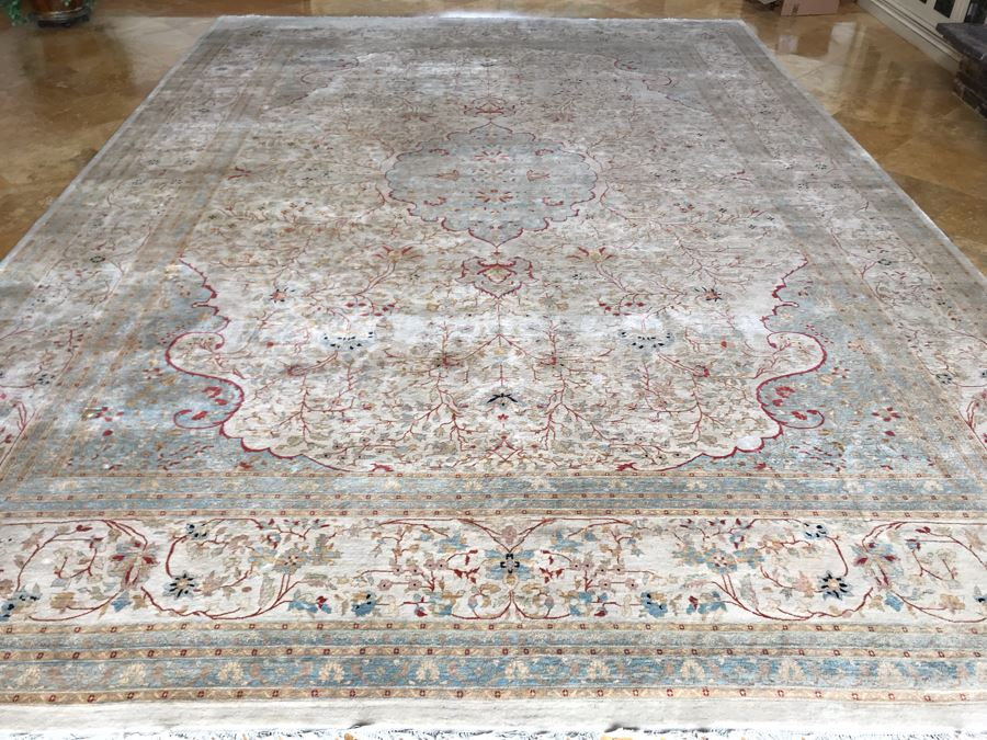 Stunning Hand Knotted Large Persian Area Rug Made In Pakistan Pak Makhmal Purchased At ABC Carpet & Home NYC 13.04' X 18.05' Retailed For $25,000 [Photo 1]