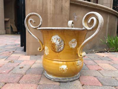 Arte-Italica Yellow Glazed Pot Made In Italy