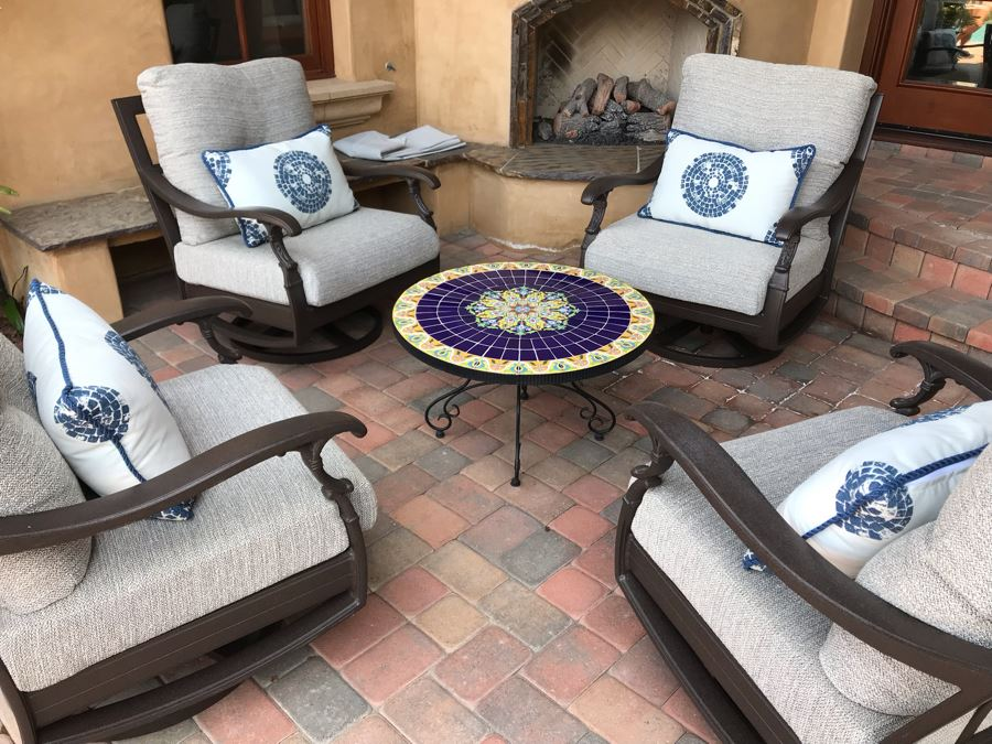 JUST ADDED - Four Custom Blue & White Patio Cushions Pillows Retails $900+ (Does Not Include Chairs) [Photo 1]