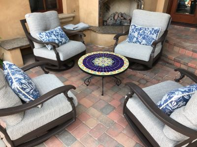 JUST ADDED - Four Custom Blue & White Patio Cushions Pillows Retails $900+ (Does Not Include Chairs)