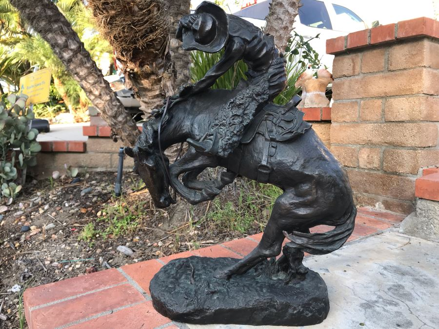 Large Frederic Remington Western Bronze Statue Titled 'Rattlesnake' Cast In 1986 At Heika Foundry Appraised At $2,500 In 1988 Weighs 63Lbs With Certificate Of Authenticity 22H X 14W X 9D [Photo 1]