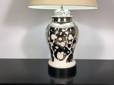 Stunning Vintage Silver And White Designer Table Lamp 33H