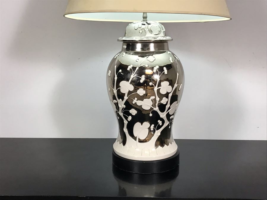 Stunning Vintage Silver And White Designer Table Lamp 33H [Photo 1]