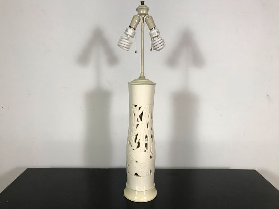 Vintage Tall White Glazed Ceramic Designer Table Lamp With Bamboo And Birds (No Lamp Shade) 36H [Photo 1]