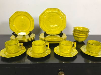 Vintage Italy PV Peasant Valley Italy Chartreuse Yellow Pottery China Apx 20 Pieces