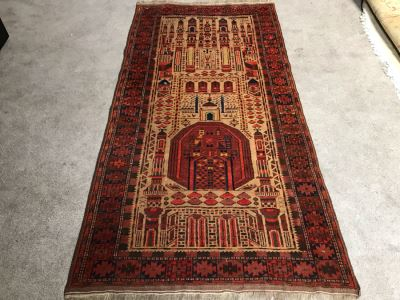Vintage Geometric Hand Knotted Wool Persian Detailed Design Prayer Rug 36 X 73
