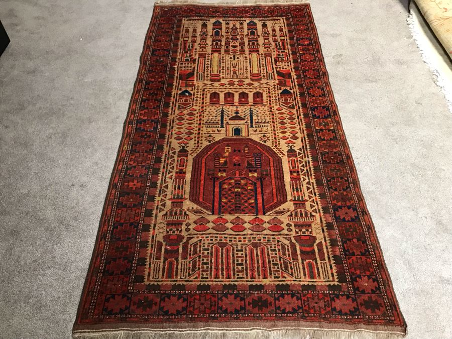 Vintage Geometric Hand Knotted Wool Persian Detailed Design Prayer Rug 36 X 73 [Photo 1]