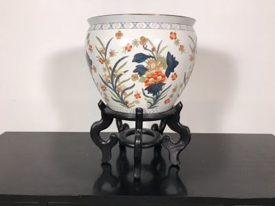 Chinese Fish Bowl Planter With Wooden Stand 14.5W X 20.5H With Stand