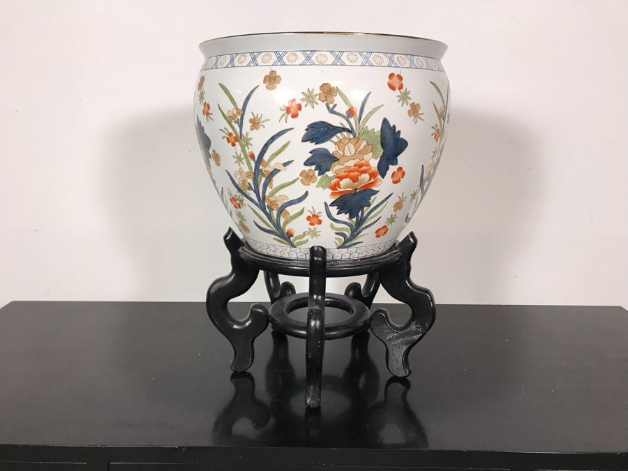 Chinese Fish Bowl Planter With Wooden Stand 14.5W X 20.5H With Stand [Photo 1]
