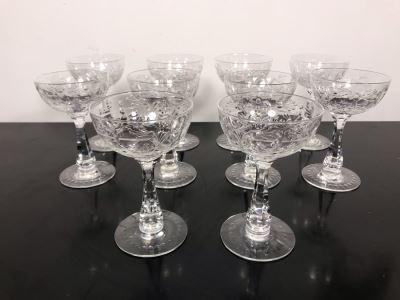 Elegant Cut Crystal Ten Stemware Glasses 5.75H X 4W