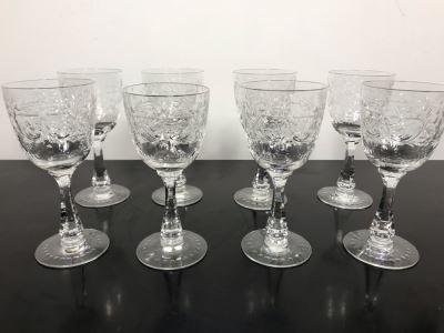 Elegant Cut Crystal Eight Stemware Glasses 7.5H X 3.5W