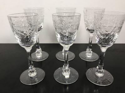 Elegant Cut Crystal Six Stemware Glasses 6.5H X 2.25W