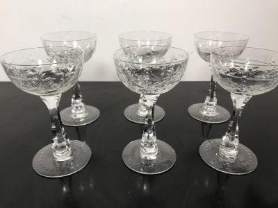 Elegant Cut Crystal Six Stemware Glasses 5.5H X 3.25W