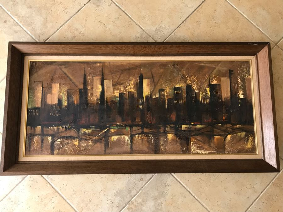 Ozz Franca Unsigned Original Mid-Century Oil On Board Cityscape Painting 47 X 20 [Photo 1]