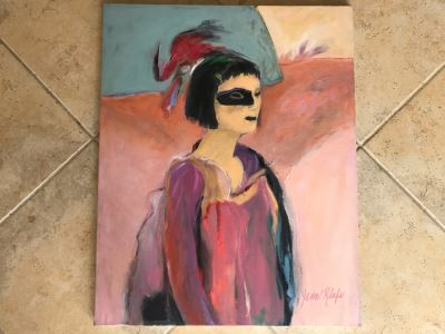 Original Jean Klafs Abstract Expressionist Painting On Canvas Titled 'Louise' 24' X 30'
