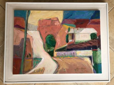 Original Jean Klafs Abstract Expressionist Framed Painting On Canvas Titled 'Sedona Rim Country II' 36' X 28'