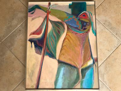 Original Jean Klafs Abstract Expressionist Framed Acrylic Painting On Canvas Titled 'Corn Dancer' 29' X 36'