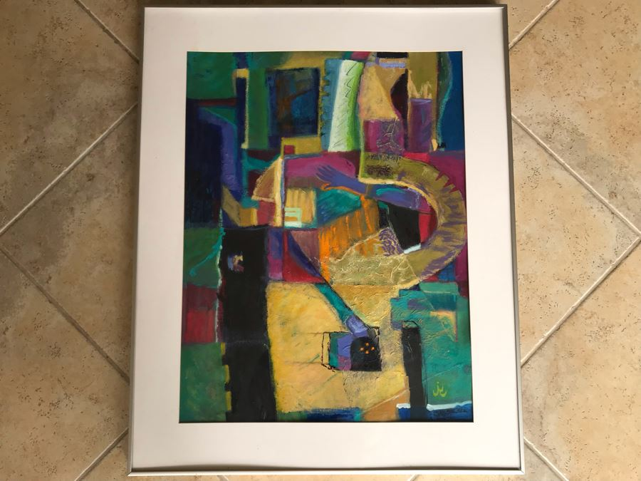 Original Jean Klafs Framed Abstract Expressionist Painting On Paper Titled 'All About Color III' 36' X 29' [Photo 1]