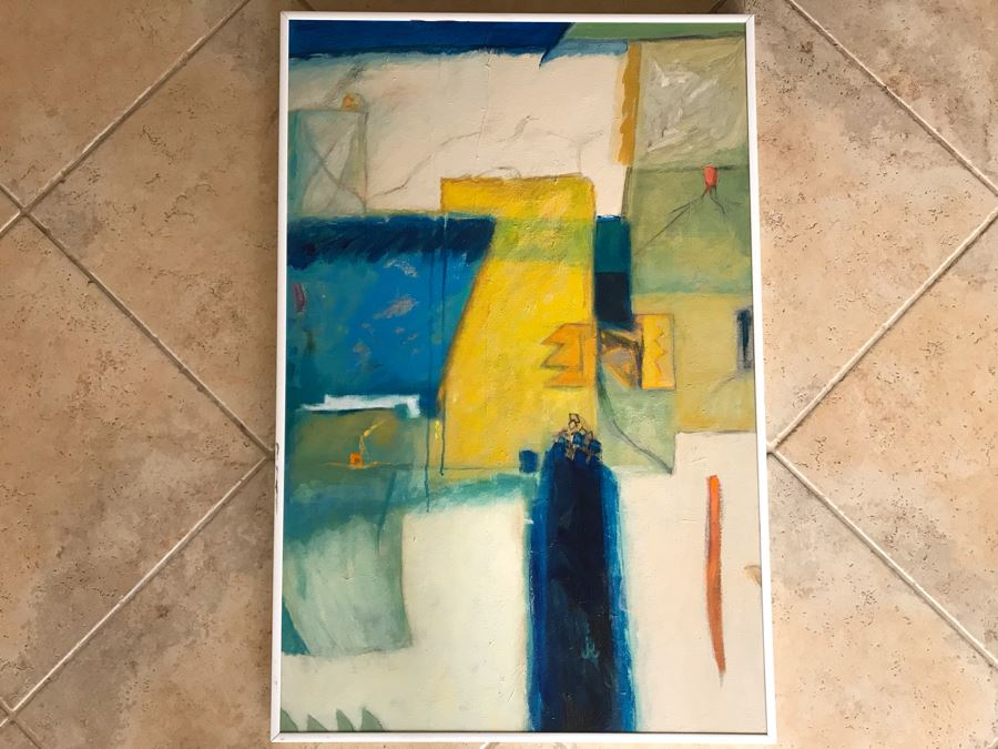 Original Jean Klafs Framed Abstract Expressionist Acrylic Painting On Canvas Titled 'Chinese Yellow' 36' X 24' [Photo 1]