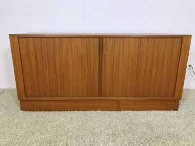 Danish Modern Teak Cabinet Credenza With Tambour Accordion Sliding Pocket Doors 54.5W X 17D X 26H