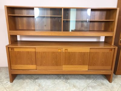 Danish Modern Teak Long Credenza Cabinet With Hutch 79W X 18D X 56.5H