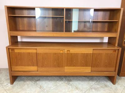 Danish Modern Teak Long Credenza Cabinet With Hutch 79W X 18D X 56.5H