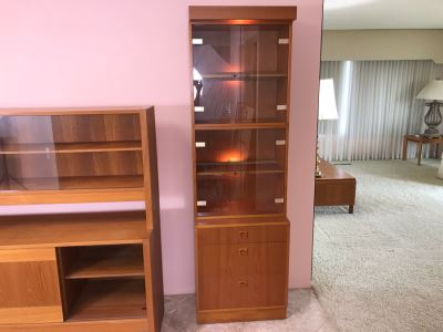 4-Piece Danish Modern Teak Curio Cabinet With 3-Drawers