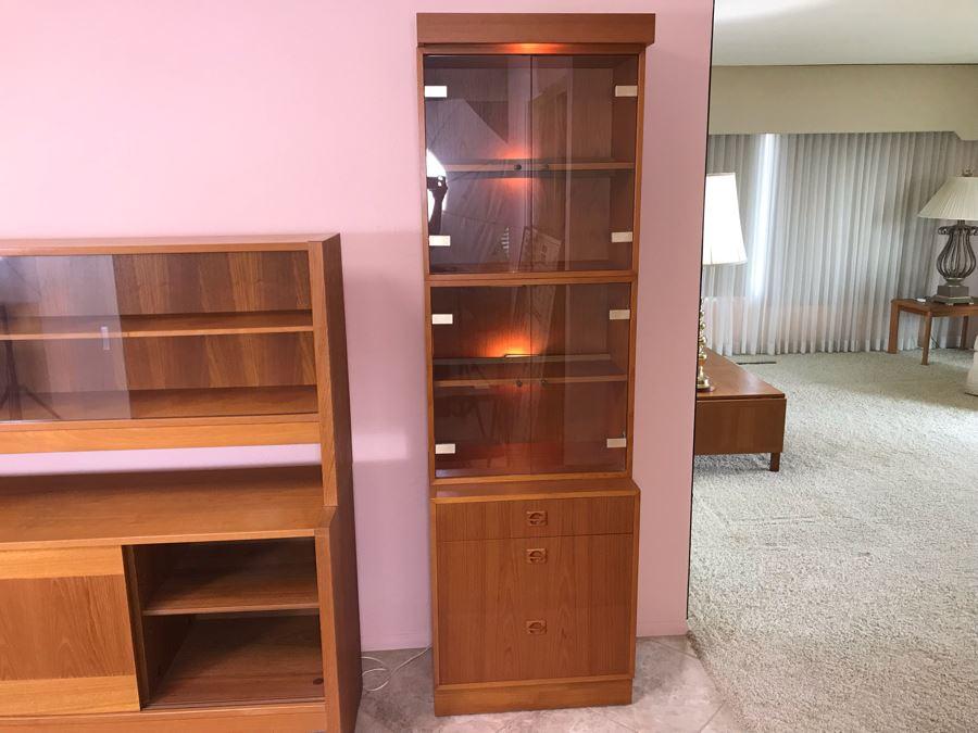 4-Piece Danish Modern Teak Curio Cabinet With 3-Drawers [Photo 1]