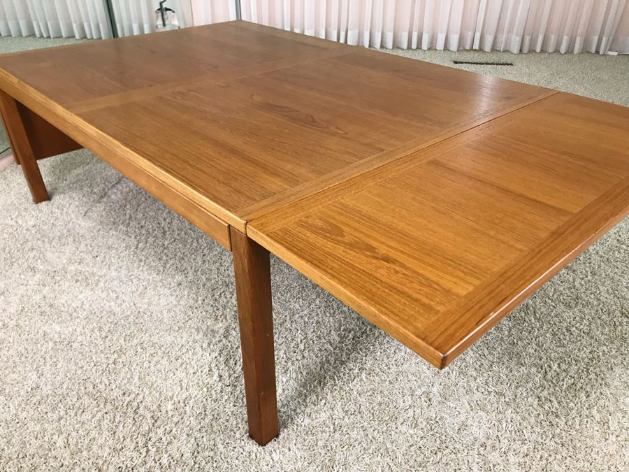 Danish Modern Teak Drop-Leaf Table 49W X 33.5D X 17H (Each Leaf Extends 12') [Photo 1]