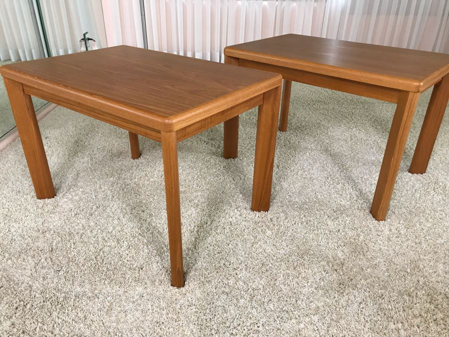 Pair Of Danish Modern Teak Side Tables By VSM 30W X 19.5D X 20H [Photo 1]
