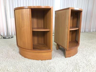 Pair Of Danish Modern Corner Cabinets With Tambour Accordion Sliding Pocket Doors By Hundevad 17W X 17D X 26H
