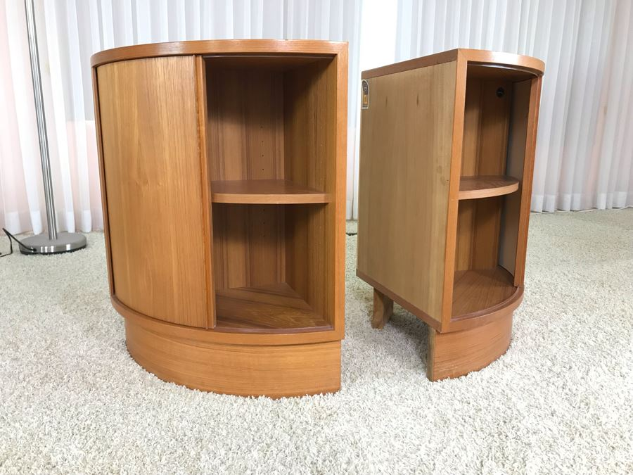 Pair Of Danish Modern Corner Cabinets With Tambour Accordion Sliding Pocket Doors By Hundevad 17W X 17D X 26H [Photo 1]