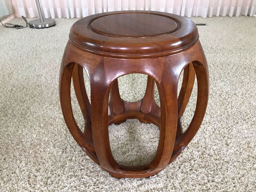 Chinese Teak Stool Plant Stand 18W X 18H [Photo 1]