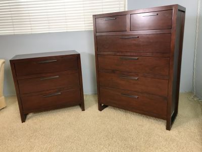 Pair Of Modern Dressers 3-Drawer Dresser And 6-Drawer Dresser By Casana