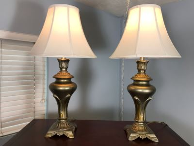 Pair Of Metal Table Lamps With Stiffel Shades 31H