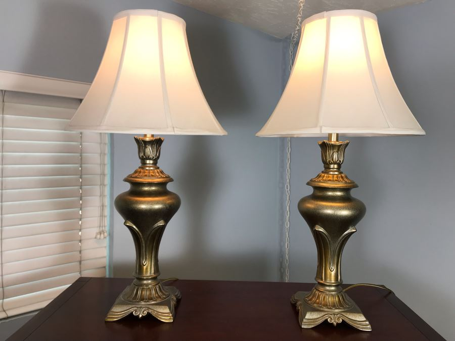 Pair Of Metal Table Lamps With Stiffel Shades 31H [Photo 1]