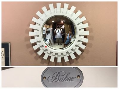 Baker Furniture Modernist White Sunburst Convex Mirror (Red Dot Is Sticker That's Been Removed)