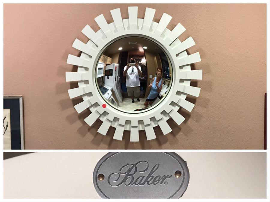 Baker Furniture Modernist White Sunburst Convex Mirror (Red Dot Is Sticker That's Been Removed) [Photo 1]