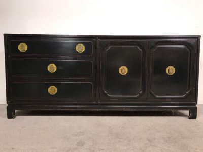 Stunning Black And Red Chinoiserie Wooden Chest Of Drawers Dresser 72W X 19D X 31.5H