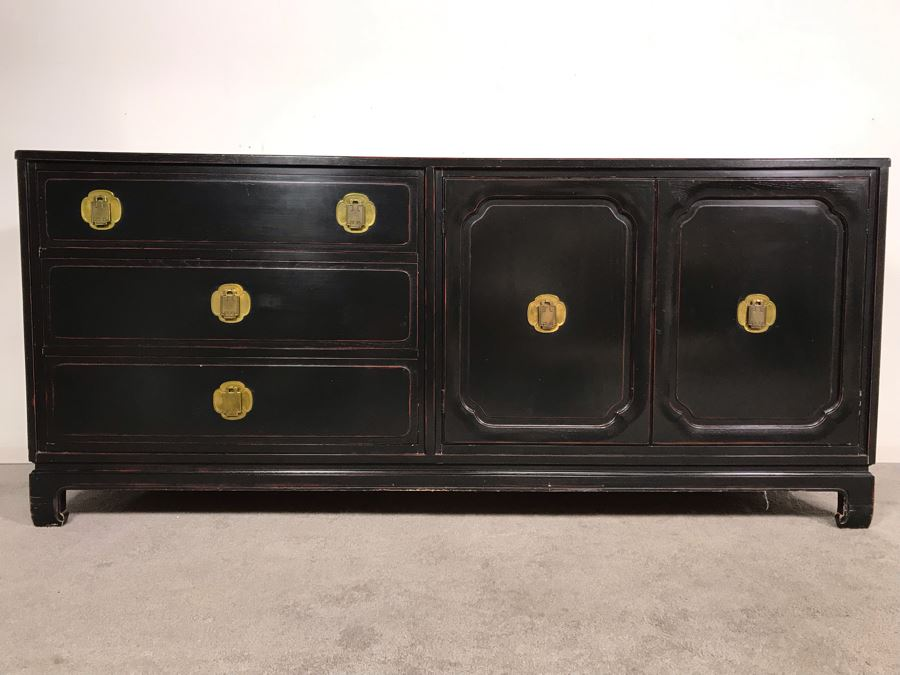 Stunning Black And Red Chinoiserie Wooden Chest Of Drawers Dresser 72W X 19D X 31.5H [Photo 1]