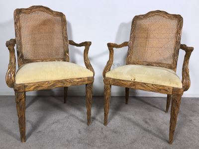 Pair Of Tree Branch Side Chairs Armchairs By Jeffco Enterprises (Seat Cushions Need Replacement)