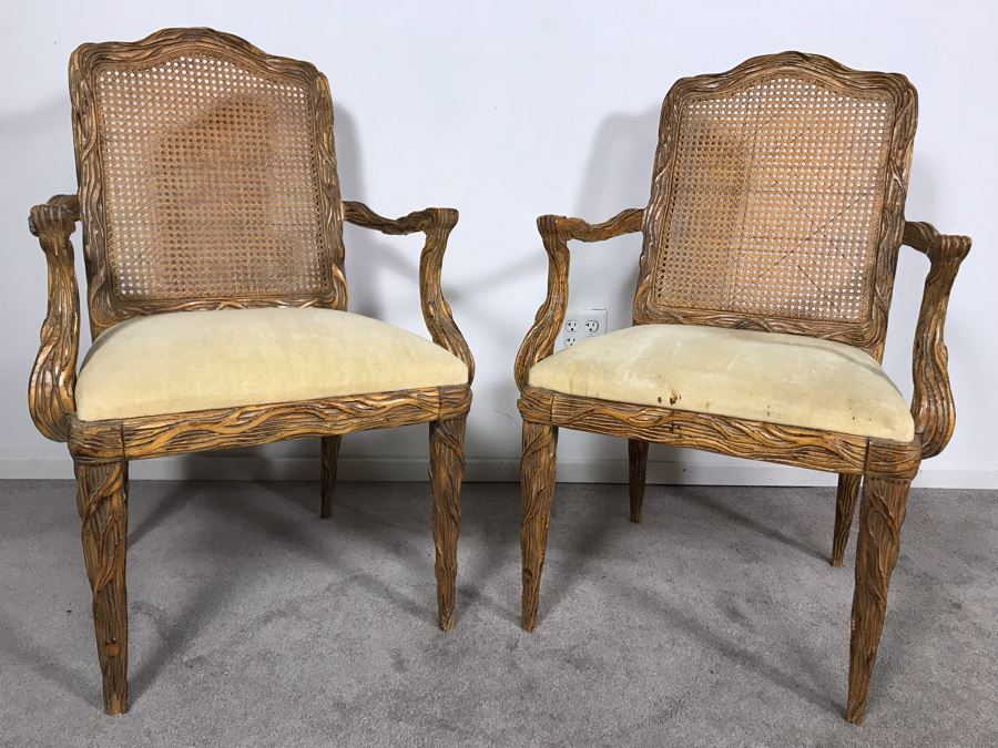 Pair Of Tree Branch Side Chairs Armchairs By Jeffco Enterprises (Seat Cushions Need Replacement) [Photo 1]