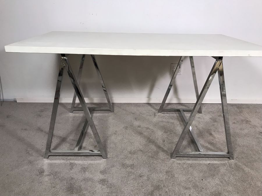 Pair Of Polished Chrome Table Stands Saw Horses With Table Top 60W X 32D X 30H  [Photo 1]