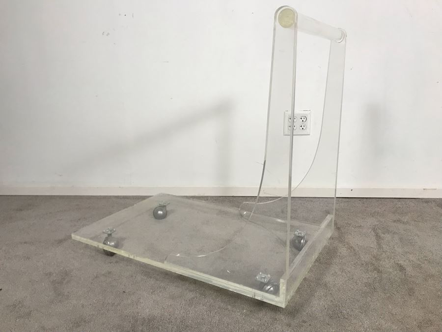 Custom Mid-Century Modern Lucite Rolling Cart With Handle 32W X 20D X 31H [Photo 1]