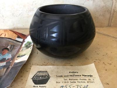 Signed Native American Black Pottery By Florence Naranjo San Ildefonso Pueblo Santa Fe, NM 4W X 3H