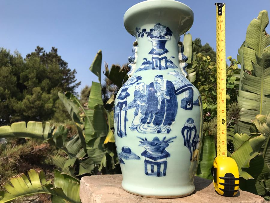 Large Antique Chinese Porcelain Jar Collected In Beijing China Crafted In Reign Of The Ch'ing Dynasty Emperor T'ung Chih (1861-1875) 17H X 9W [Photo 1]