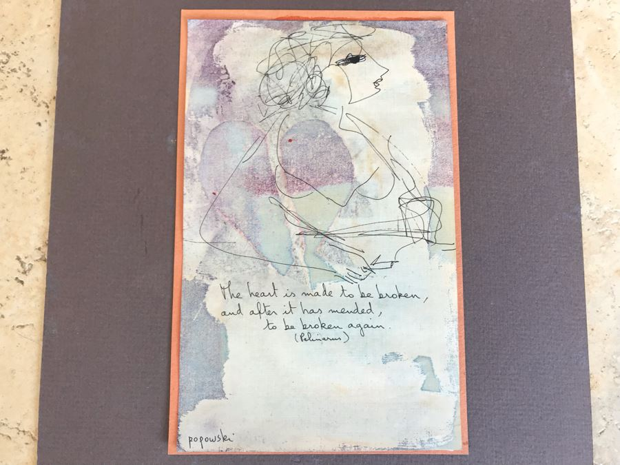 Original Stella Popowski Mid-Century Painting On Paper Titled 'The Heart Is Made To Be Broken, And After It Has Mended, To Be Broken Again.' 5 X 8 [Photo 1]