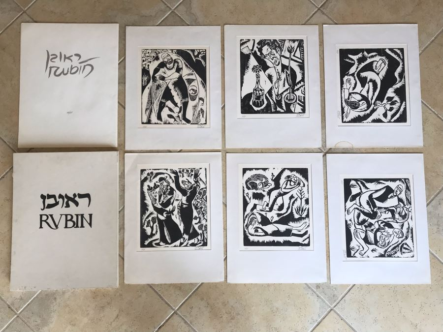 Reuven Rubin (1893-1974) Rare Original Set Of Six Out Of Print Wood Cuts 13 X 11 Individually Hand Signed With Presentation Box And Large Flyer 12 Of 65 (One Of Israel's Top Artists) [Photo 1]